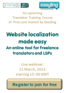 Proz Free Webinar on Website Translation hosted by Easyling