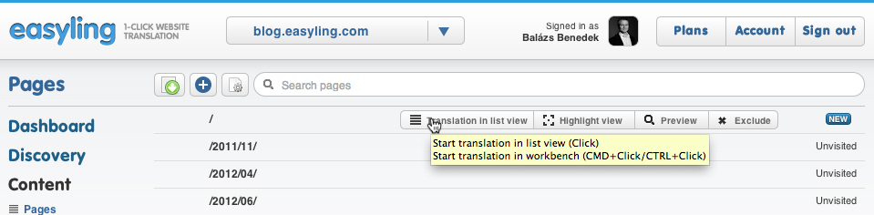 You can bring up the Workbench by pressing and holding Ctrl/Cmd when clicking on the List View button.